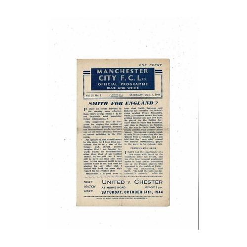 1944/45 Manchester City v Crewe Alexandra Football Programme Oct