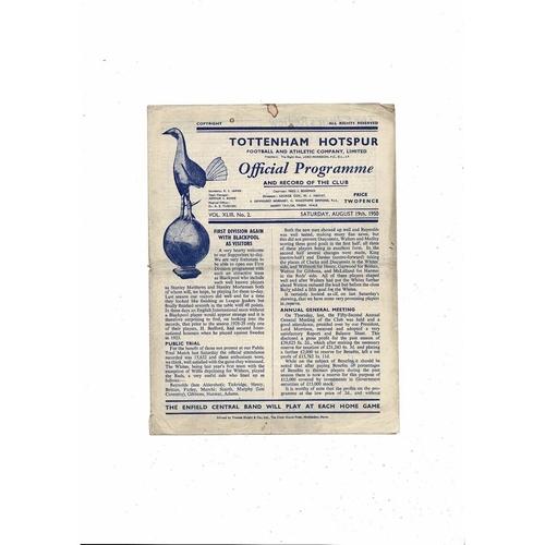 1950/51 Tottenham Hotspur v Blackpool Football Programme