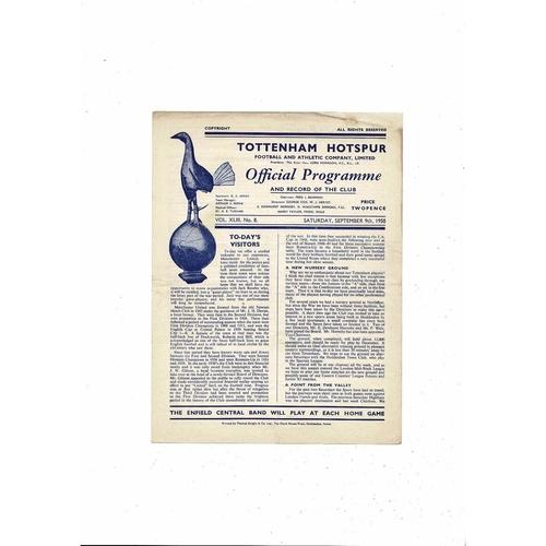 1950/51 Tottenham Hotspur v Manchester United Football Programme