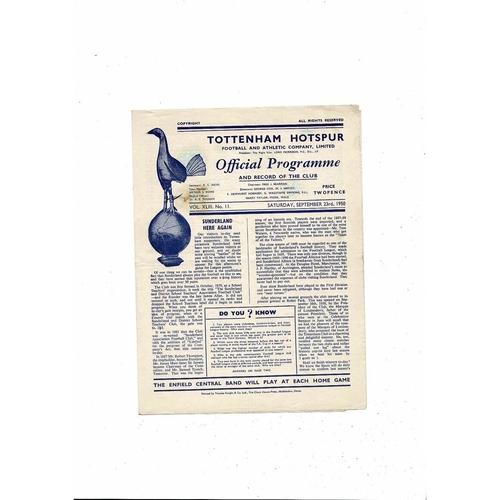 1950/51 Tottenham Hotspur v Sunderland Football Programme