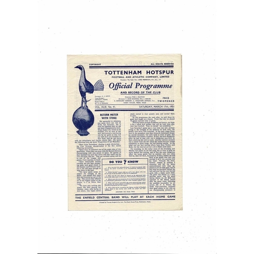 1950/51 Tottenham Hotspur v West Bromwich Albion Football Programme