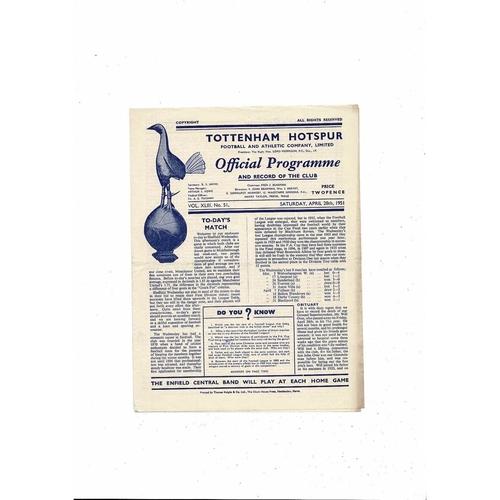 1950/51 Tottenham Hotspur v Sheffield Wednesday Football Programme