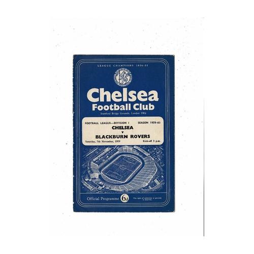 1959/60 Chelsea v Blackburn Rovers Football Programme