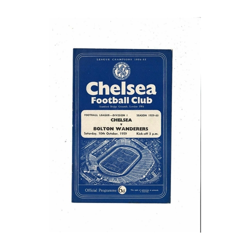 1959/60 Chelsea v Bolton Wanderers Football Programme