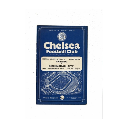 1959/60 Chelsea v Birmingham City Football Programme