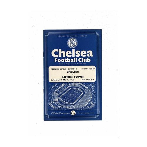 1959/60 Chelsea v Luton Town Football Programme