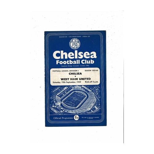 1959/60 Chelsea v West Ham United Football Programme