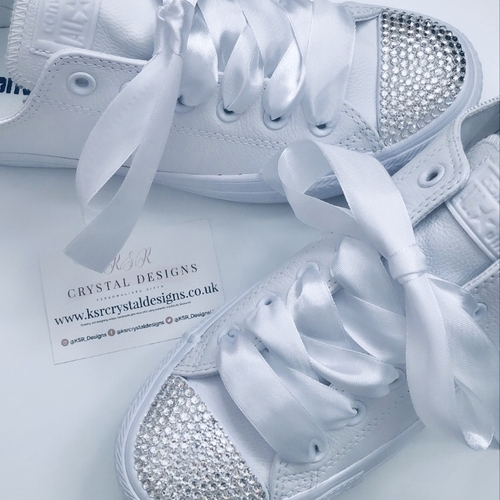 Crystal Converse (White Leather Adults)