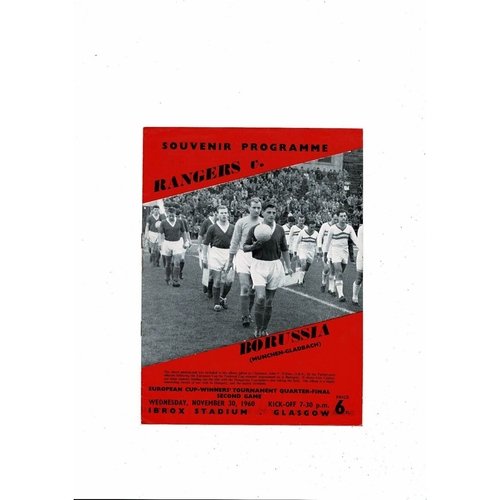 Rangers v Borussia Munchengladbach European Cup Winners Cup Football Programme 1960/61