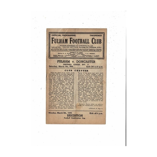1947/48 Fulham v Doncaster Rovers Football Programme