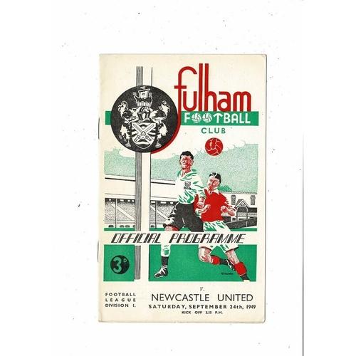 1949/50 Fulham v Newcastle United Football Programme