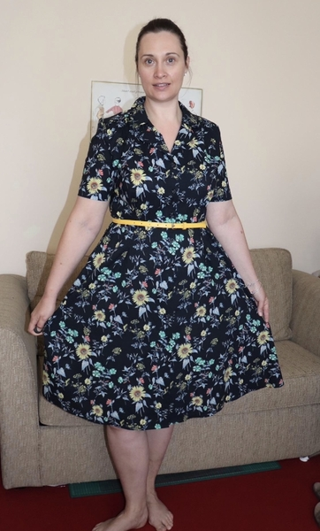 Sew Over It Vintage Shirt Dress made using our Antique Floral Black Pima Cotton Lawn