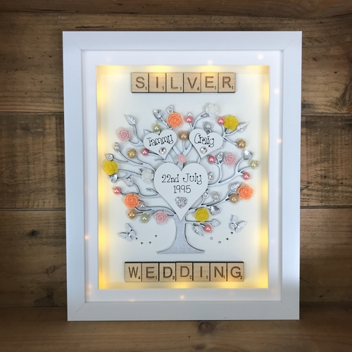 "LED "" Floral Silver wedding "" frame"