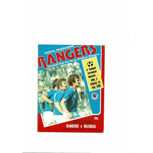 Rangers v Valencia European Cup Winners Cup Football Programme 1979/80
