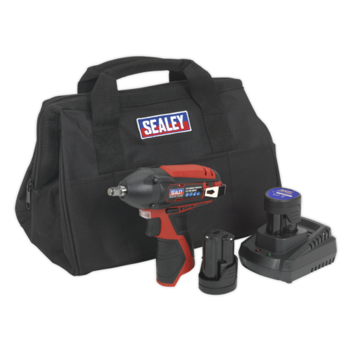 "Impact Wrench Kit 3/8""Sq Drive 12V Li-ion - 2 Batteries - Sealey - CP1204KIT"