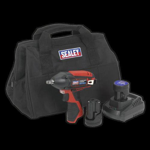 "Impact Wrench Kit 3/8""Sq Drive 12V Li-ion - 2 Batteries - Sealey - CP1204KIT"