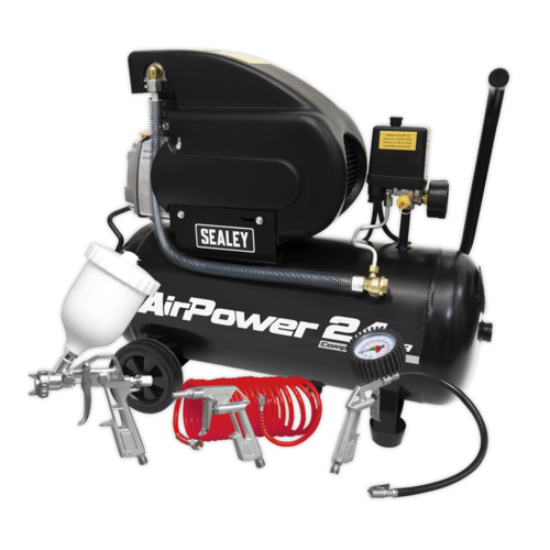 Compressor 24ltr Direct Drive 2hp with 4pc Accessory Kit - Sealey - SAC2420APK