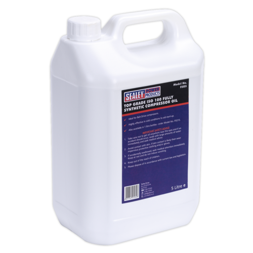 Compressor Oil Fully Synthetic 5ltr - Sealey - FSO5