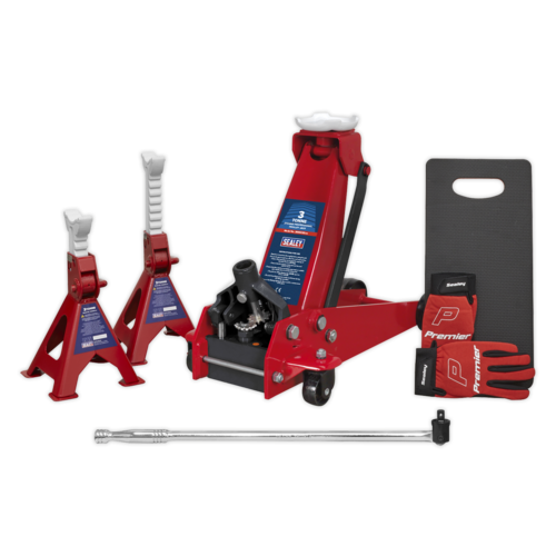 Trolley Jack 3tonne Standard Chassis with Accessories - Sealey - 3000CXDCOMBO2