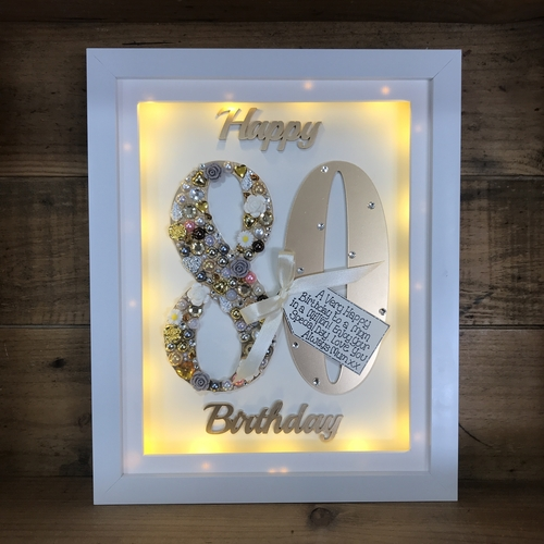 LED Happy 80 th birthday frame