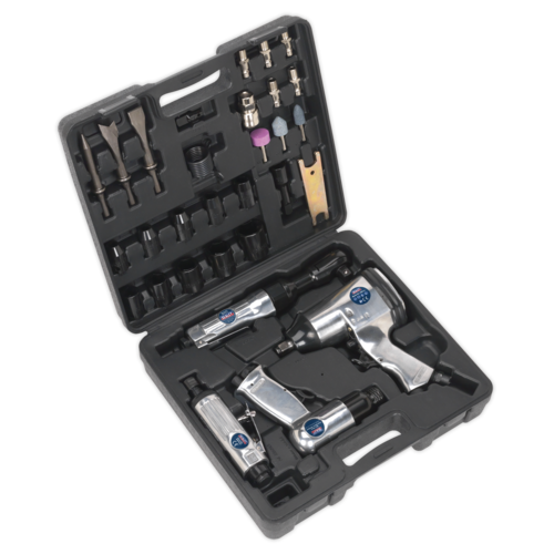 Air Tool Kit 4pc with Accessories - Sealey - SA2004KIT