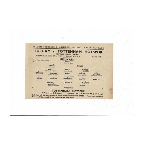 1943/44 Fulham v Tottenham Hotspur Football Programme