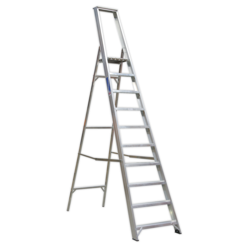 Aluminium Step Ladder 10-Tread Industrial BS 2037/1 - Sealey - AXL10