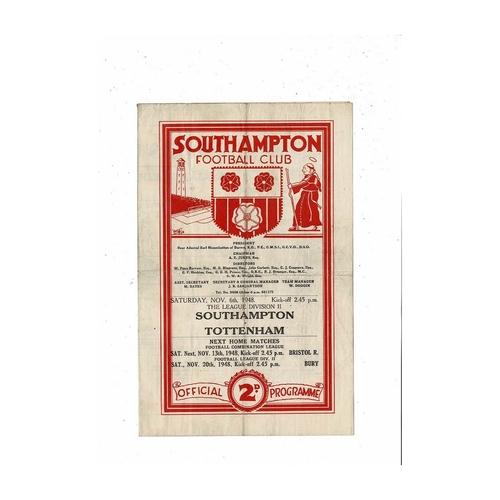 1948/49 Southampton v Tottenham Hotspur Football Programme