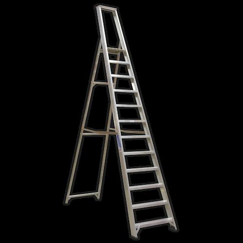 Aluminium Step Ladder 12-Tread Industrial BS 2037/1 - Sealey - AXL12
