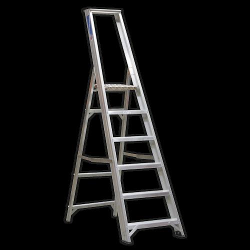 Aluminium Step Ladder 6-Tread Industrial BS 2037/1 - Sealey - AXL6