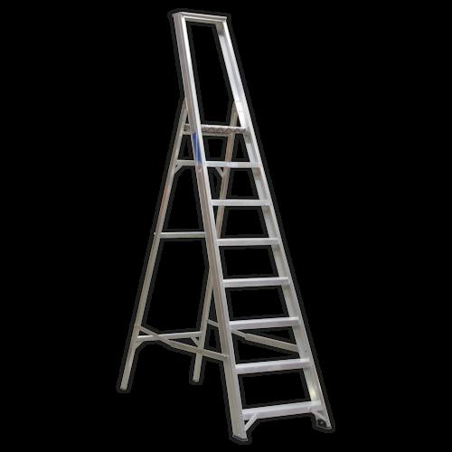 Aluminium Step Ladder 8-Tread Industrial BS 2037/1 - Sealey - AXL8