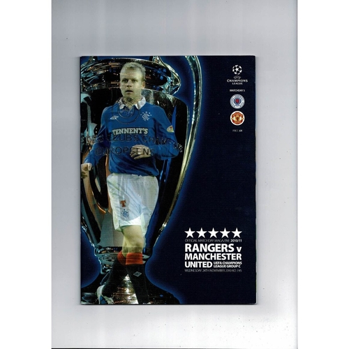 Rangers v Manchester United Champions League Football Programme 2010/11