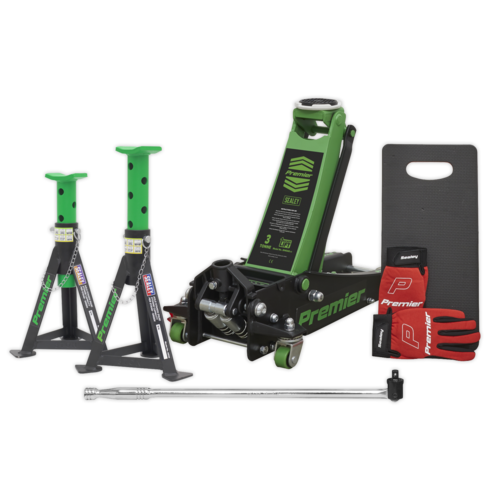Trolley Jack 3tonne Rocket Lift Green with Accessories - Sealey - 3040AGCOMBO