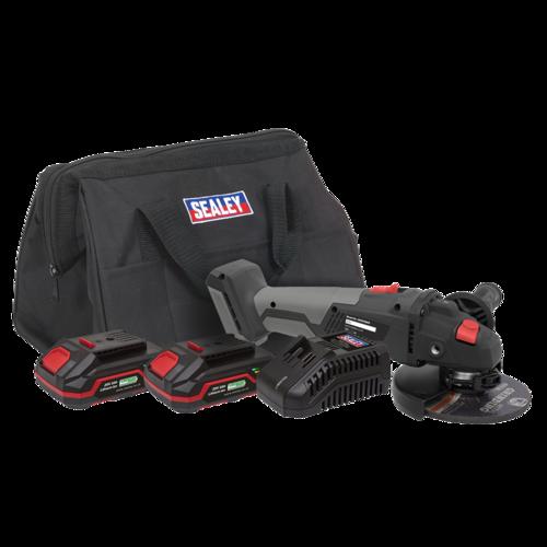 Brushless Angle Grinder Kit 20V - 2 Batteries - Sealey - CP20VAGXKIT