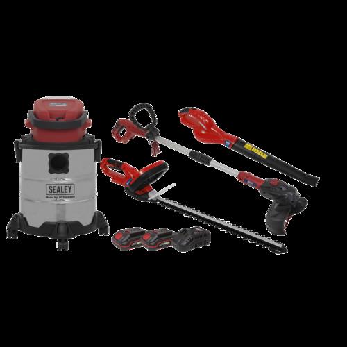 Garden Power Tool Kit 20V - 2 Batteries - Sealey - CP20VCOMBO3