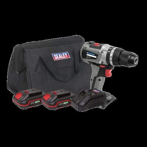Brushless Hammer Drill/Driver Kit 13mm 20V - 2 Batteries - Sealey - CP20VDDXKIT
