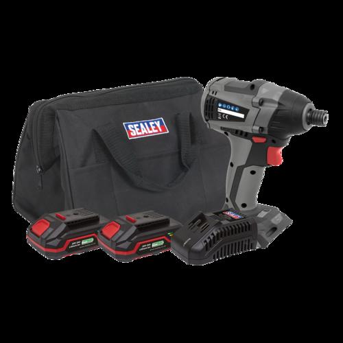 "Brushless Impact Driver Kit 1/4"" Hex 20V - 2 Batteries - Sealey - CP20VIDXKIT"