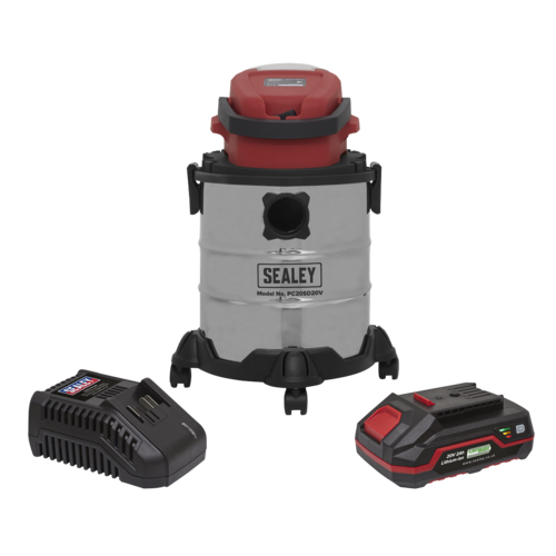 Vacuum Cleaner 20ltr Wet & Dry Cordless 20V with 2Ah Battery & Charger - Sealey - PC20VCOMBO2