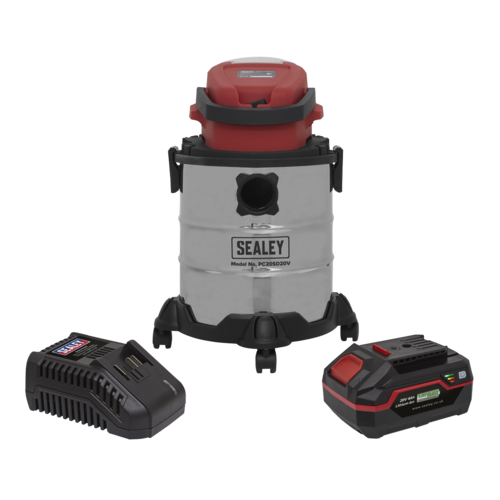 Vacuum Cleaner 20ltr Wet & Dry Cordless 20V with 4Ah Battery & Charger - Sealey - PC20VCOMBO4