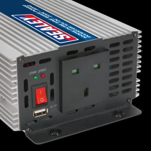 Power Inverter Pure Sine Wave 1000W 12V DC - 230V 50Hz - Sealey - PSI1000