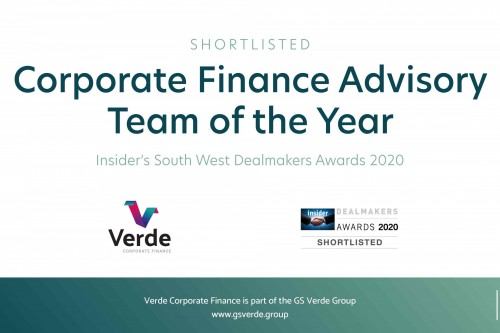 Verde Corporate Finance shortlisted for South West Dealmakers awards