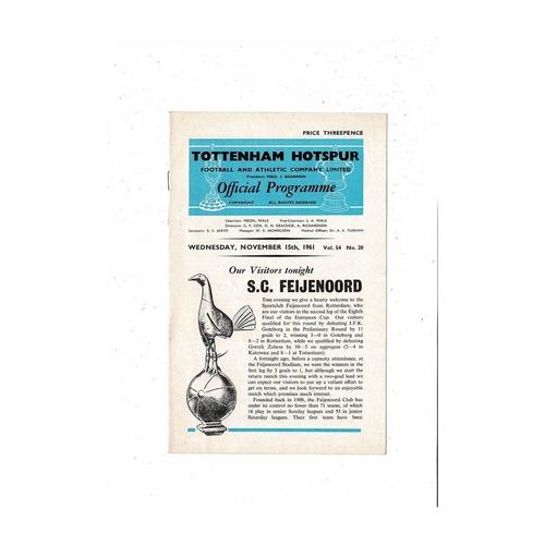 Tottenham Hotspur v Feyenoord European Cup Football Programme 1961/62