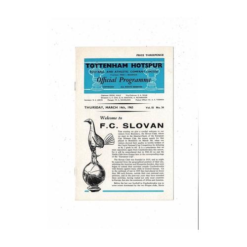 Tottenham Hotspur v Slovan European Cup Winners Cup Football Programme 1962/63