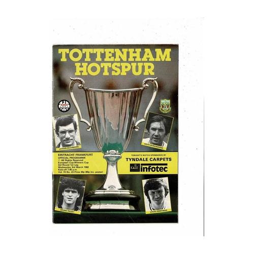 Tottenham Hotspur v Eintracht European Cup Winners Cup Football Programme 1981/82
