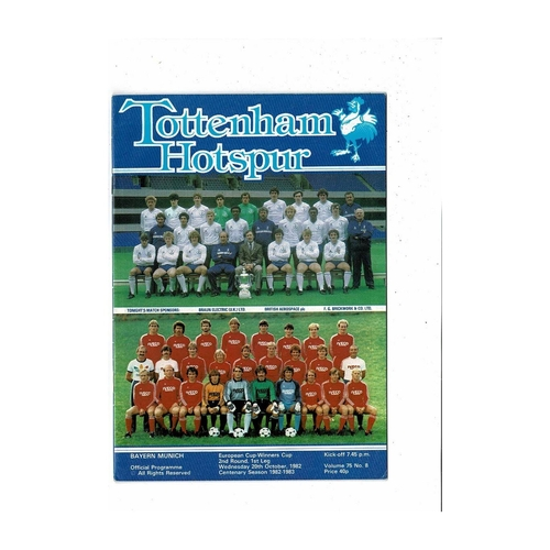 Tottenham Hotspur v Bayern Munich European Cup Winners Cup Football Programme 1982/83