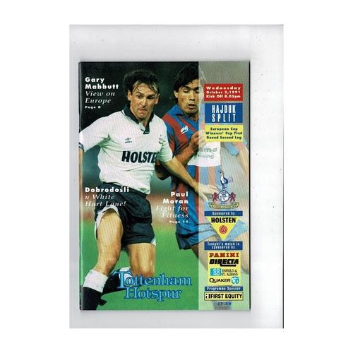 Tottenham Hotspur v Hajduk European Cup Winners Cup Football Programme 1991/92
