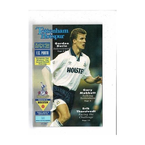Tottenham Hotspur v Porto European Cup Winners Cup Football Programme 1991/92