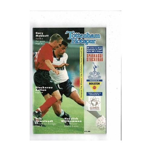 Tottenham Hotspur v Stockerau European Cup Winners Cup Football Programme 1991/92