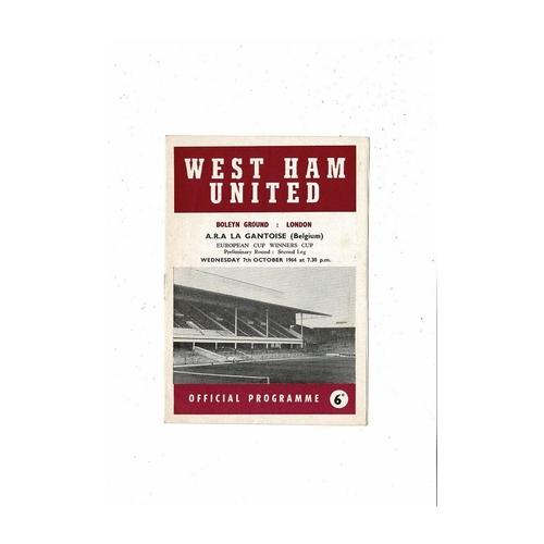 West Ham United v Gantoise European Cup Winners Cup Football Programme 1964/65