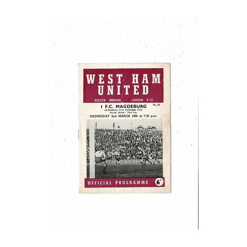 West Ham United v Magdeburg European Cup Winners Cup Football Programme 1965/66